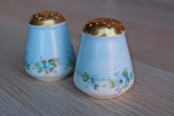 Salt and Pepper Shakers Decorated with Hand Painted Flowers and Gilded Tops
