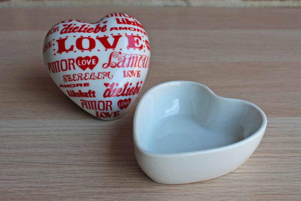 "Counterpoint (San Francisco) Takahashi Japan ""Love Makes the World Go Round"" Porcelain Heart Shaped Trinket Box"