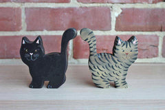 Hand-Painted Wood Cat Figurines, A Pair
