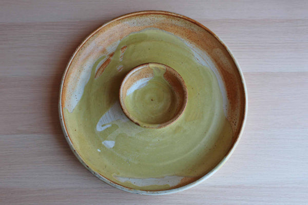 1992 Handmade Yellow and Orange Stoneware Chip n' Dip