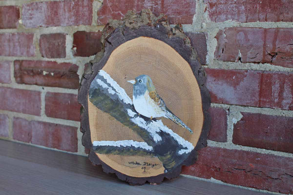 Bluebird Perched on a Branch Handpainted on a Sectioned Piece of Wood