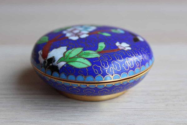 Small Blue Floral Enameled Cloisonne Trinket Box