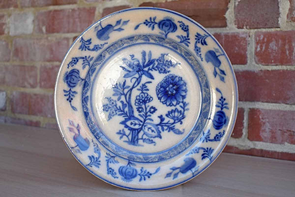 Old Ceramic Plate with Blue Onion Pattern