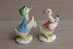 Male and Female Ceramic Duck Figurines, A Pair