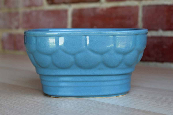 Cookson Pottery (Ohio, USA) Cornflower Blue Ceramic Planter with Round Honeycomb-Like Pattern