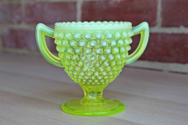 Imperial Glass Company (Ohio, USA) Opaline and Vaseline Glass Hobnail Sugar Bowl