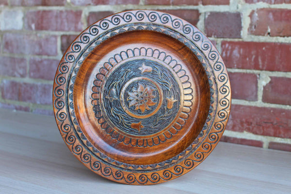 Handcarved Wood Dish with Flowers and Tiny Brass Accents