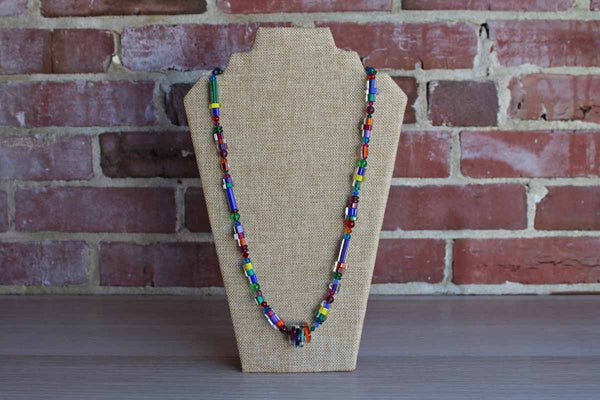 Clear and Colored Glass Bead Necklace