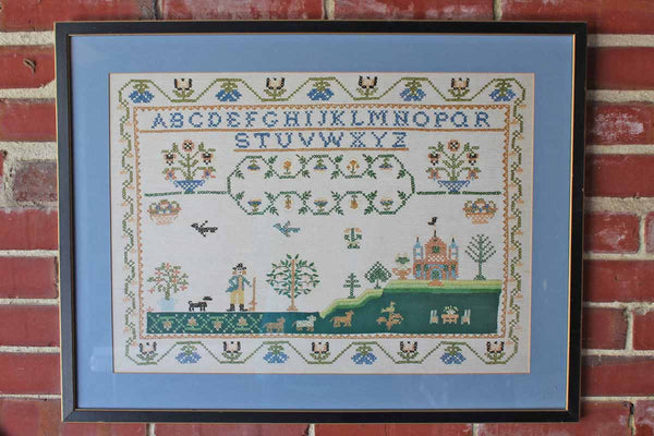 Custom Framed Colonial-Inspired Alphabet and Flower Cross-Stitch