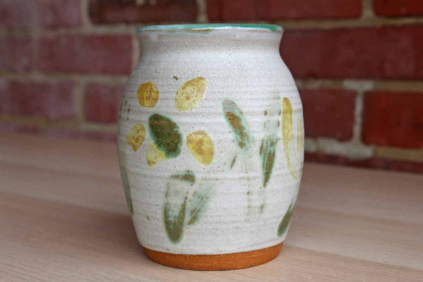 Handmade Ceramic Storage Vessel with Abstract Painted Yellow Flowers