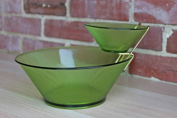 Federal Glass Company (Ohio, USA) Norse Limelight Ribbed Green Glass Chip & Dip