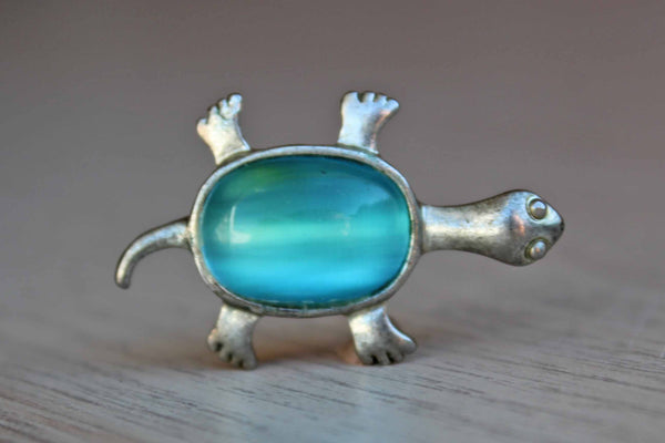 Little Silver Turtle Charm with Aqua Blue Cabochon Center