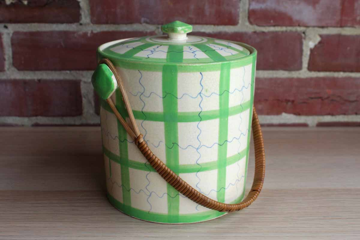 Ceramic Lidded Jar with Wicker Handle, Made in Japan