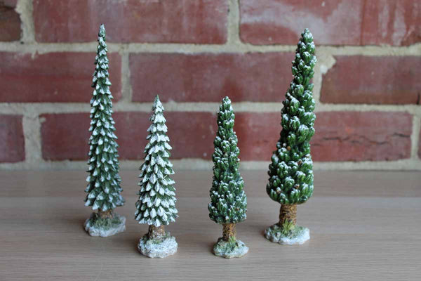 Cast Resin Pine Trees with Snow Detailing, Set of 4
