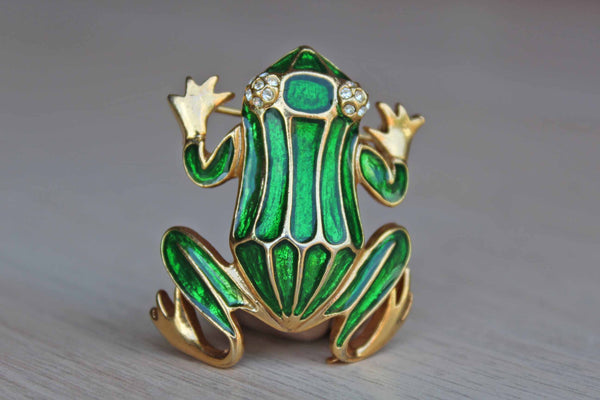 Green Enameled Frog Brooch with Silver Rhinestone Eyes