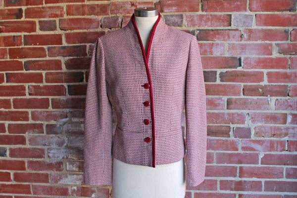 Casual Corner Wool Blend Blazer with Red and Brown X and O Pattern