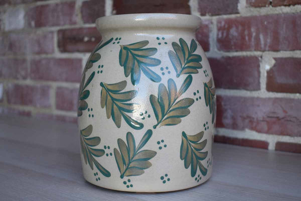 Beaumont Brothers Pottery (Ohio, USA) Salt Glazed Crock with Green Leaves and Berries