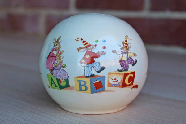 Royal Doulton (England) Bunnykins Bunnies Playing on ABC Blocks Money Ball
