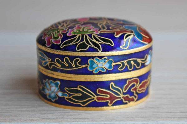Small Enameled Brass Box Decorated with Colorful Flowers