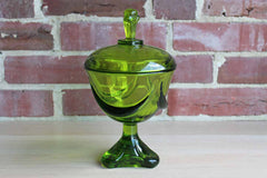 Green Glass Lidded Pedestal Candy Dish with Swag Detail, Made by Viking