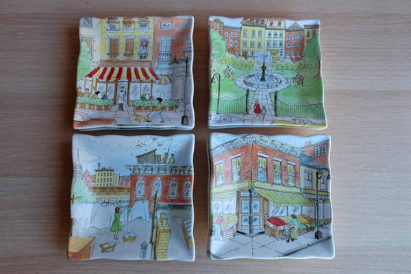 "222 Fifth ""Urban Life"" Snack Plates, 8 Pieces"