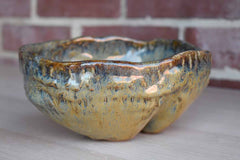 Primitive Handmade Stoneware Bowl with Organic Shape and Green and Gold Glazes