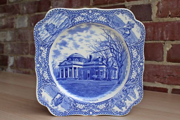Crown Ducal (England) Blue and White Transferware Plate With Image of Monticello