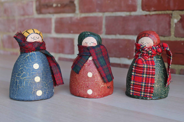 Handmade Folk Art Dolls Wearing Scarves