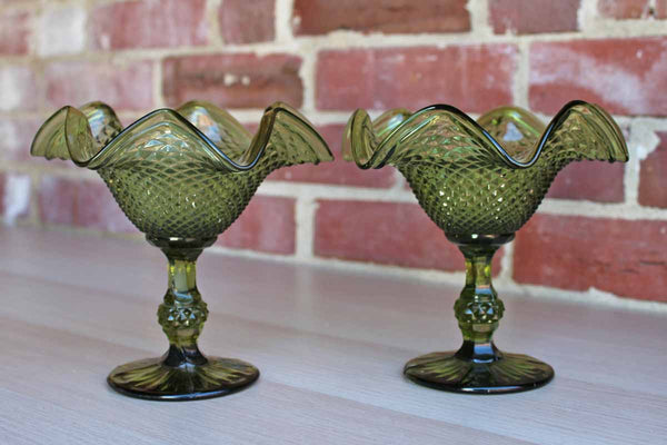 Green Glass Diamond Point Pedestal Compotes, A Pair