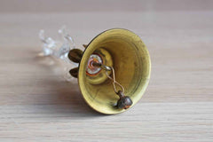Glass Dachshund Figurine on a Brass Bell
