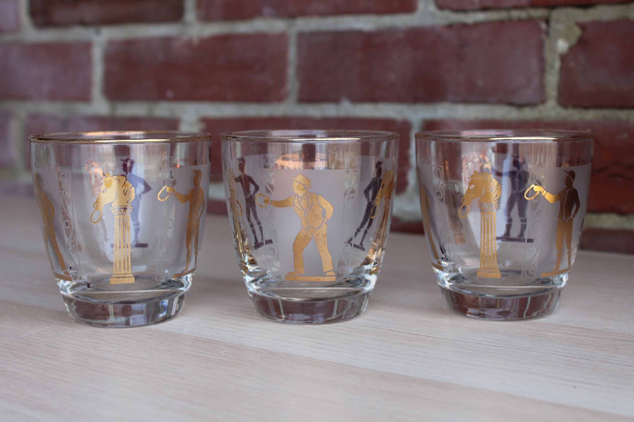 Libbey Glass (Ohio, USA) Jockey and Trainer Lowball Glasses, Set of 3