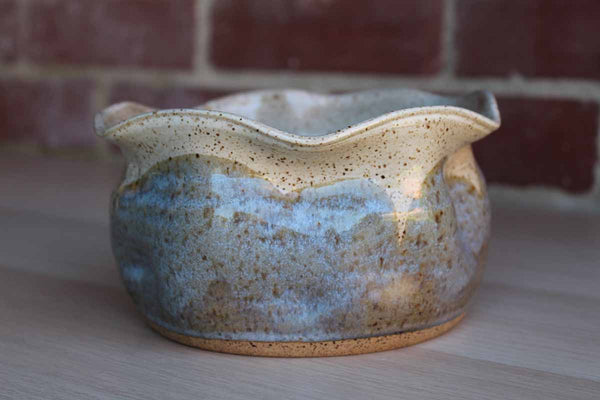 Handmade Stoneware Bowl with Pinched Rim and Speckled Glaze