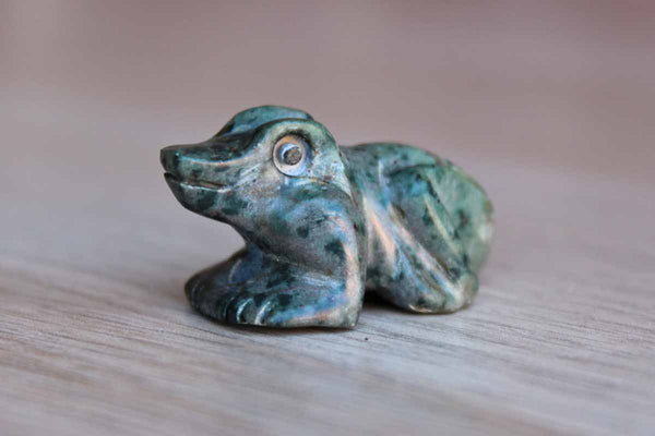 Little Carved Green Alabaster Frog with Hanging Hole