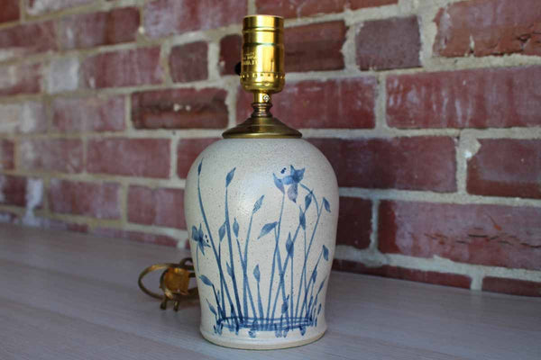 Salt Glazed Stoneware Table Lamp with Painted Blue Reeds