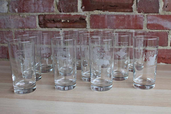 Clear Etched Glasses Depicting the 12 Days of Christmas