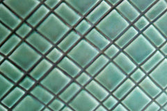 Stanford Sebring Pottery (Ohio, USA) Glossy Green Glazed Planter with Embossed Quilted Design