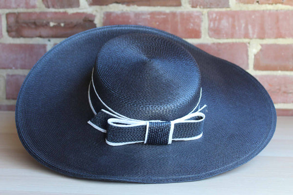 Designed by Sylvia (New York, St. Louis) Navy Blue Wide-Brimmed Straw Hat with Bow