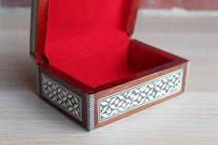 Mother of Pearl Mosaic Inlay Wood Hinged Trinket Box
