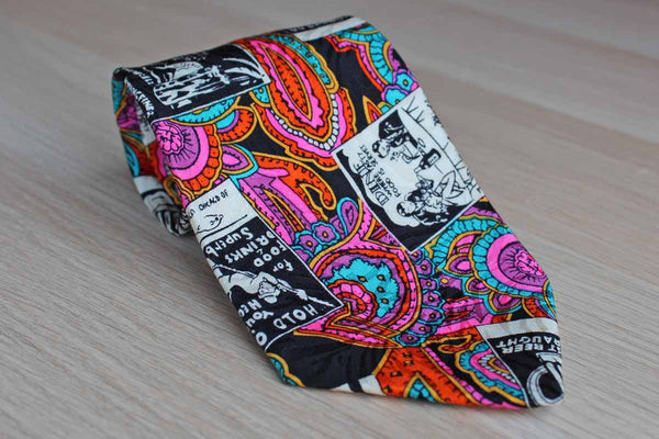 Papell Silk Necktie with Paisley and Drinking Themes Design
