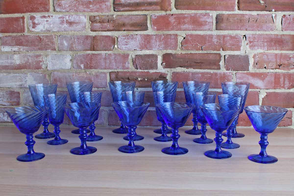 Cobalt Blue Water, Wine, and Martini Glasses, 18 Pieces