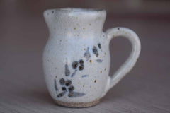 Miniature Stoneware Handled Jug with Painted Flowers