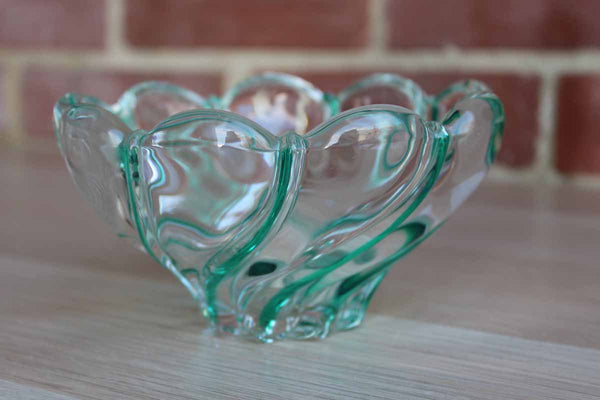 Mikasa Peppermint Swirl Green and Clear Glass Bowl