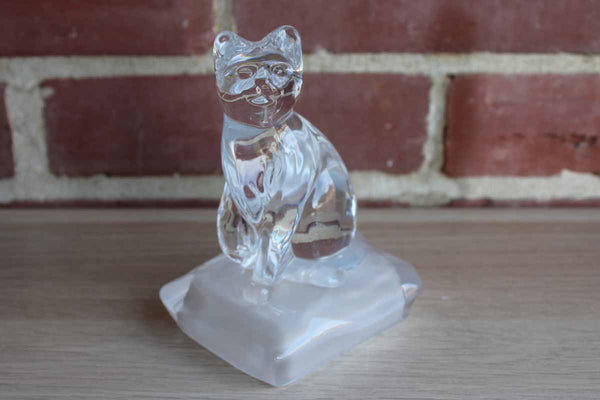 Clear Glass Cat on a Pedestal Paperweight