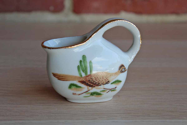 Small Ceramic Creamer with Hand Painted Road Runner