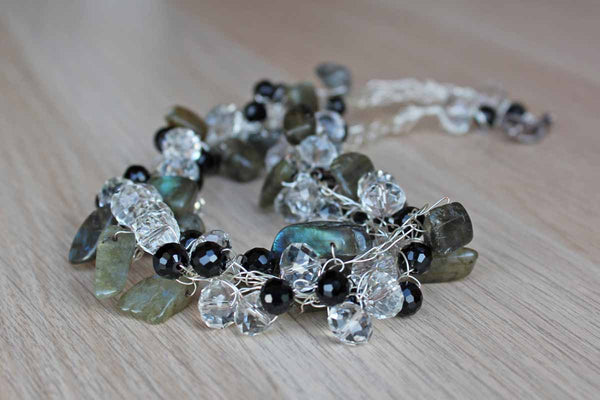 Beautiful Black and White Faceted Beads and Polished Green Mica Stones Set on Thin Wire