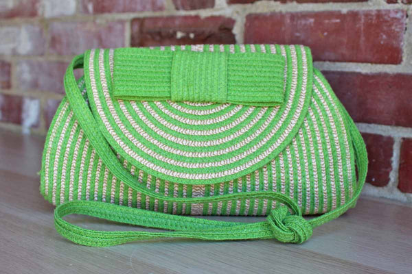 Green and Natural Tan Straw Purse