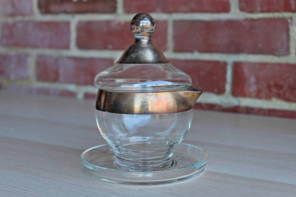 Clear Glass Sugar Bowl with Silver Accents