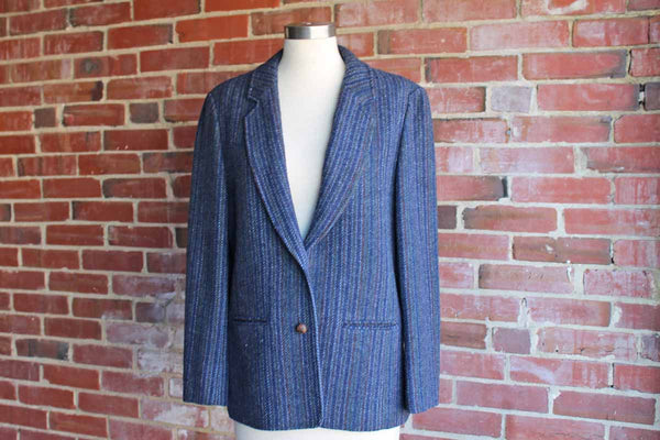 Pendleton Woolen Mills (Oregon, USA) Navy Blue, Green, and Orange Patterned Blazer with Elbow Pads