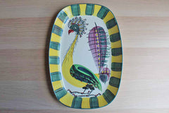 Royal Copenhagen (Denmark) Faience Rooster Serving Platter, Decorated by Inge-Lise Koefoed