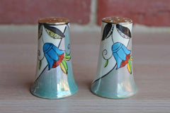Hand Painted Floral Lusterware Salt and Pepper Set, Made in Japan